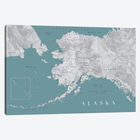 Gray And Teal Watercolor Detailed Map Of Alaska Canvas Print #RLZ234} by blursbyai Art Print