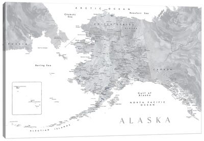 Gray Watercolor Detailed Map Of Alaska Canvas Art Print