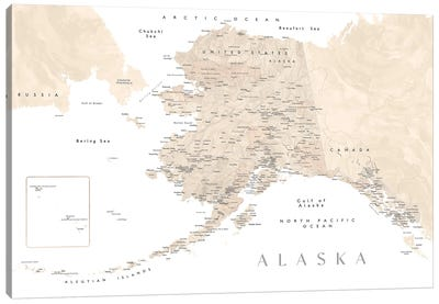 Neutral Watercolor Detailed Map Of Alaska Canvas Art Print