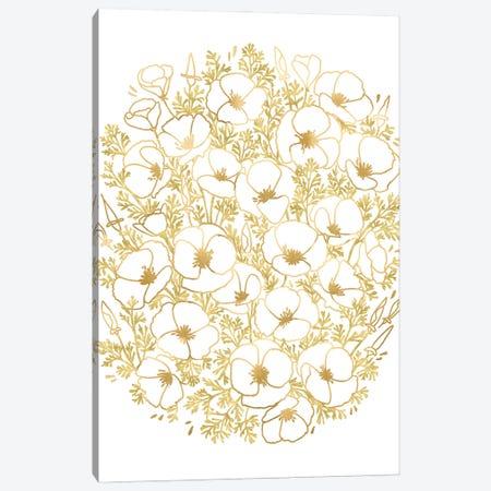 Gold Watercolor California Poppies Bunch Canvas Print #RLZ241} by blursbyai Art Print
