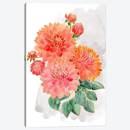 Pacey Dahlias Bouquet In Coral Watercolor Canvas Print #RLZ242} by blursbyai Art Print