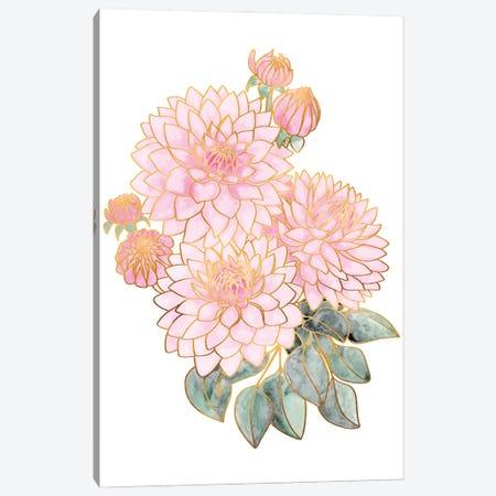 Pacey Dahlias Bouquet In Pink Watercolor Canvas Print #RLZ243} by blursbyai Art Print