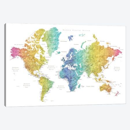Labels In Spanish Rainbow Watercolor World Map Canvas Print #RLZ255} by blursbyai Art Print