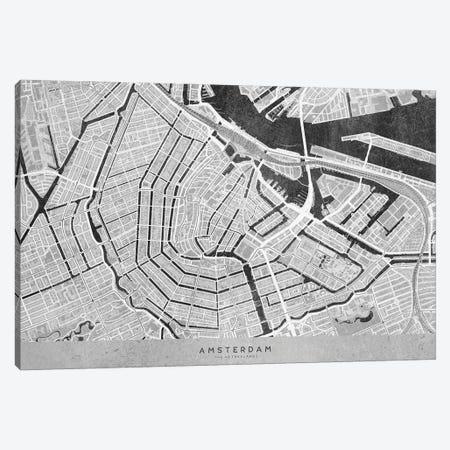 Gray Vintage Map Of Amsterdam Canvas Print #RLZ258} by blursbyai Canvas Artwork