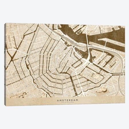 Sepia Vintage Map Of Amsterdam Canvas Print #RLZ259} by blursbyai Canvas Wall Art