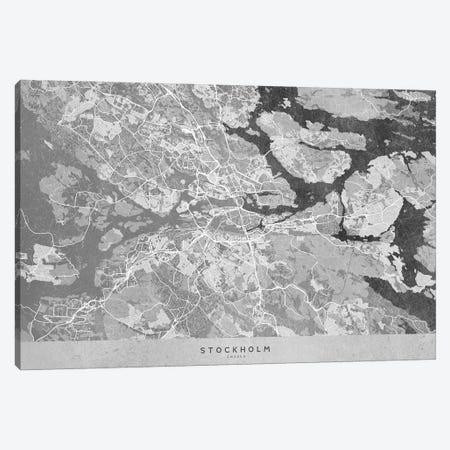 Gray Vintage Map Of Stockholm Canvas Print #RLZ262} by blursbyai Canvas Art Print