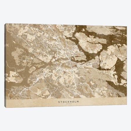 Sepia Vintage Map Of Stockholm Canvas Print #RLZ263} by blursbyai Canvas Print