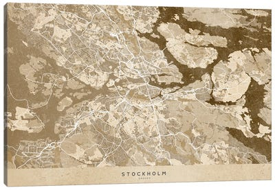 Sepia Vintage Map Of Stockholm Canvas Art Print
