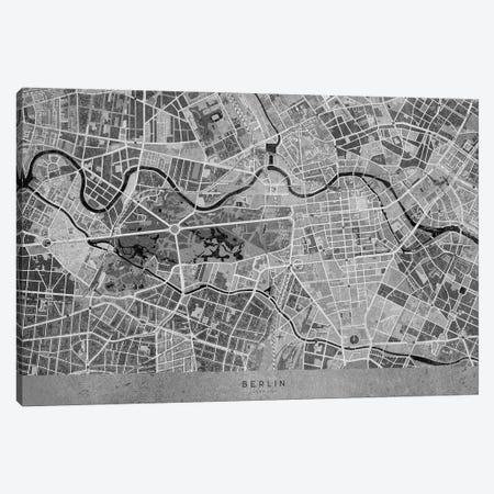 Gray Vintage Map Of Berlin Canvas Print #RLZ266} by blursbyai Canvas Artwork