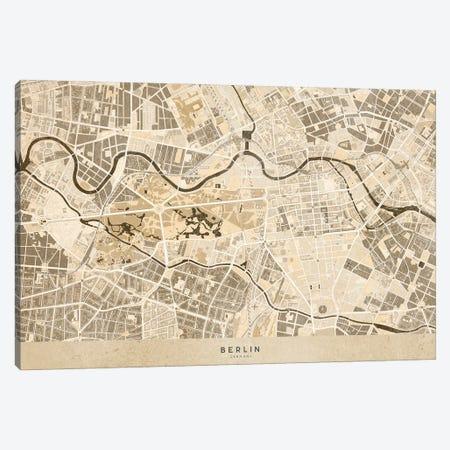 Sepia Vintage Map Of Berlin Canvas Print #RLZ267} by blursbyai Canvas Wall Art