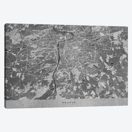 Gray Vintage Map Of Prague Canvas Print #RLZ268} by blursbyai Art Print