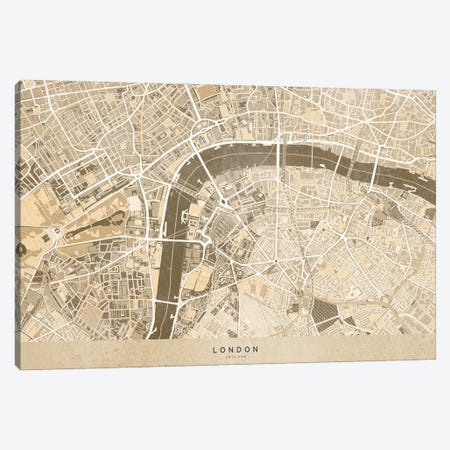 Sepia Vintage Map London Downtown Canvas Print #RLZ271} by blursbyai Canvas Wall Art