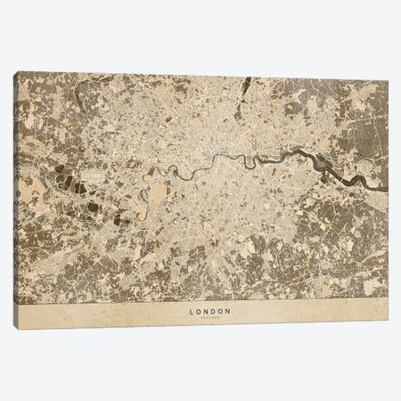 Sepia Vintage Map Of London Canvas Print #RLZ272} by blursbyai Canvas Art
