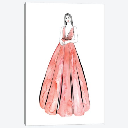 Kaede Fashion Illustration In Coral Canvas Print #RLZ289} by blursbyai Canvas Art Print