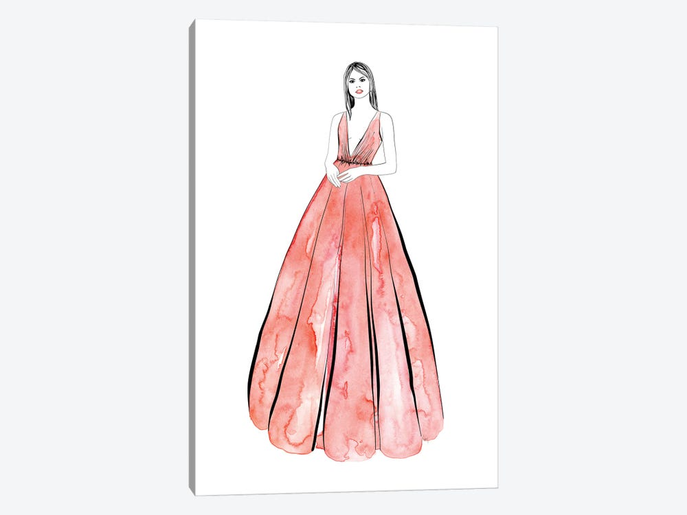 Kaede Fashion Illustration In Coral by blursbyai 1-piece Canvas Art