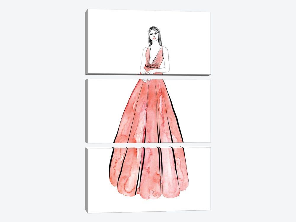 Kaede Fashion Illustration In Coral by blursbyai 3-piece Canvas Artwork