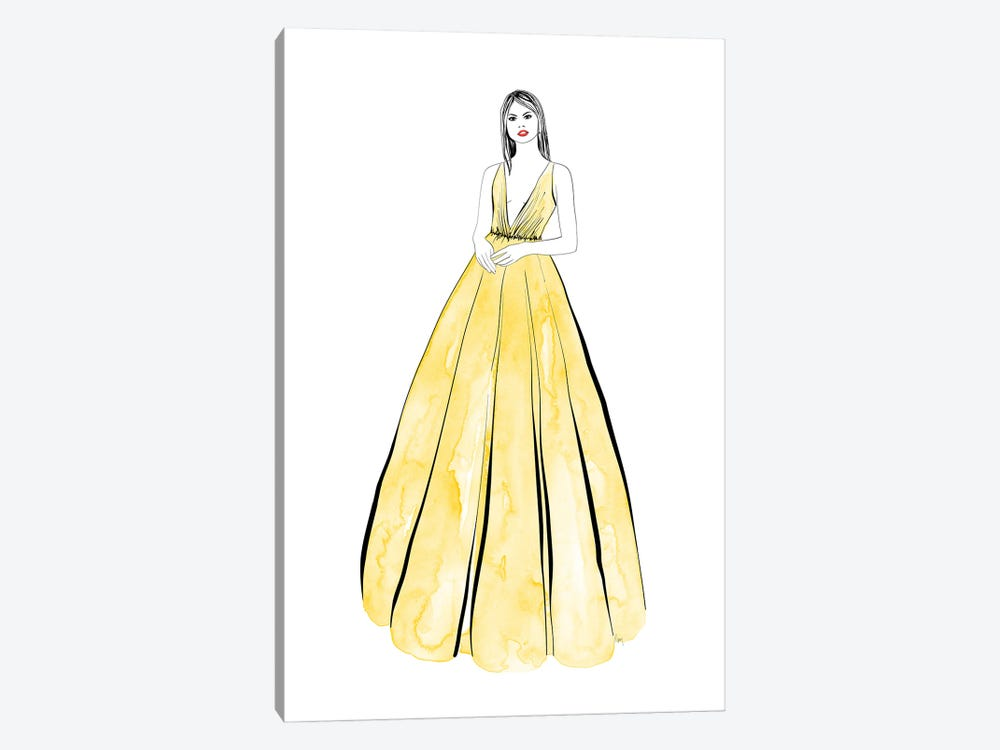 Kaede Fashion Illustration In Yellow by blursbyai 1-piece Canvas Artwork