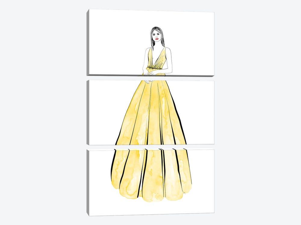Kaede Fashion Illustration In Yellow by blursbyai 3-piece Canvas Art