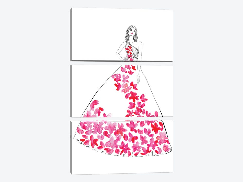 Oletta Fashion Illustration In Hot Pink by blursbyai 3-piece Canvas Wall Art