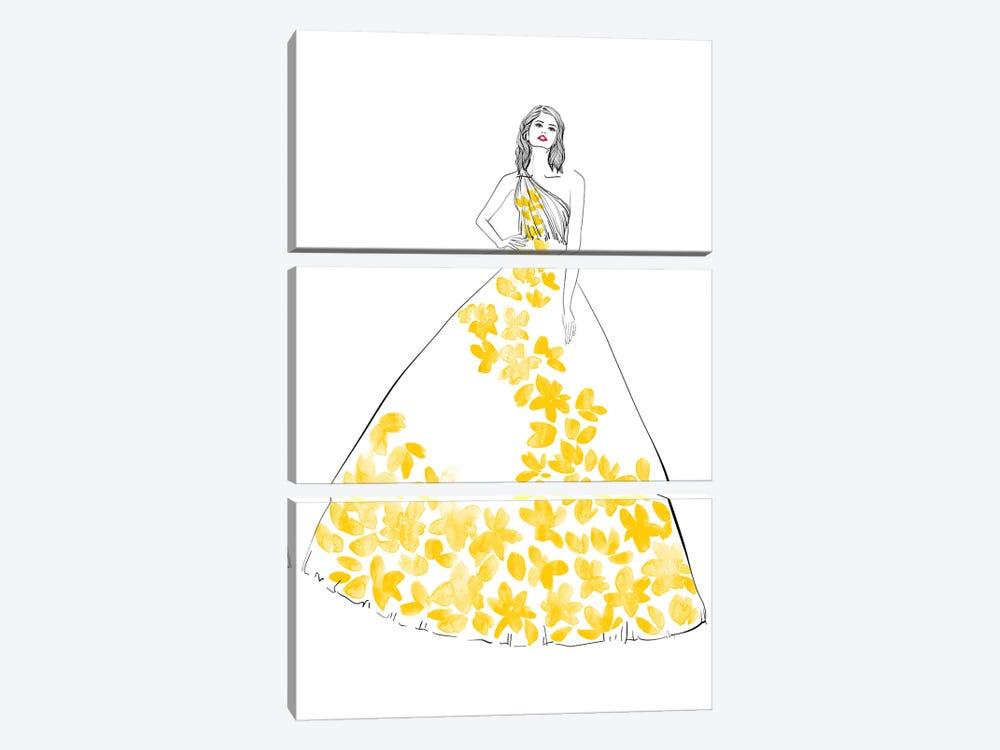 Oletta Fashion Illustration In Yellow by blursbyai 3-piece Canvas Print