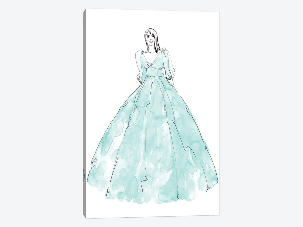 Fini Fashion Illustration In Mint by blursbyai 1-piece Canvas Art Print