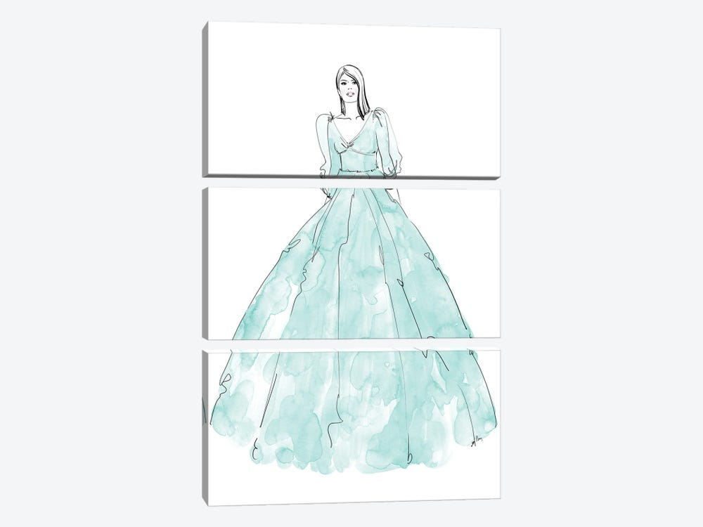 Fini Fashion Illustration In Mint by blursbyai 3-piece Canvas Art Print