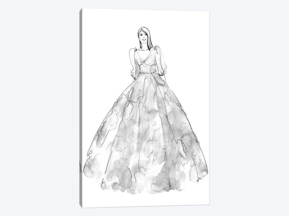Fini Fashion Illustration In Grey by blursbyai 1-piece Canvas Wall Art