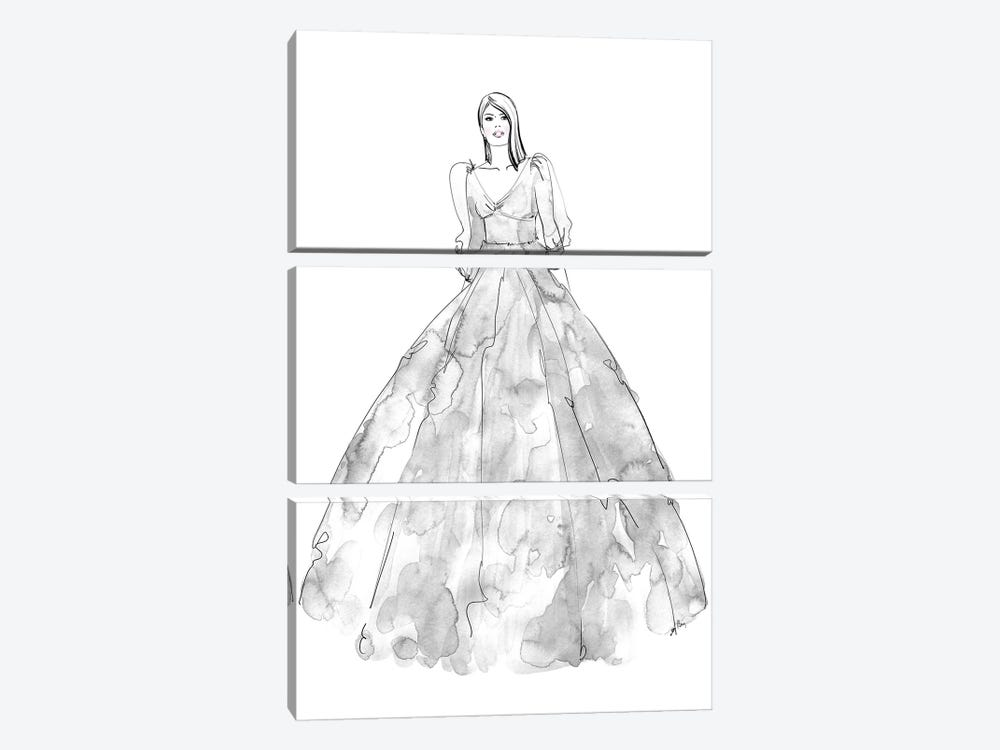 Fini Fashion Illustration In Grey by blursbyai 3-piece Canvas Wall Art