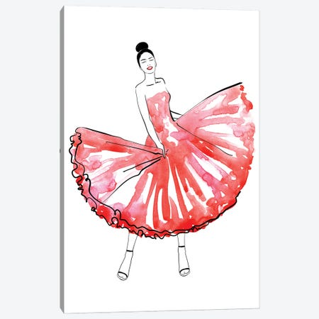 Maija Fashion Illustration In Red Canvas Print #RLZ297} by blursbyai Canvas Art Print