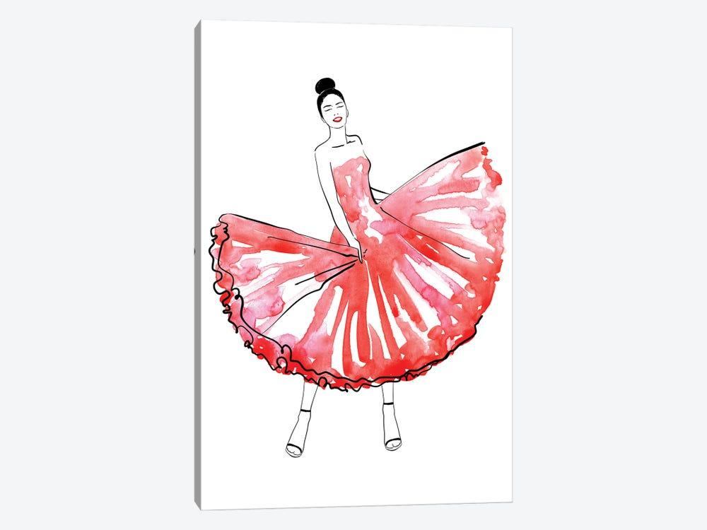Maija Fashion Illustration In Red by blursbyai 1-piece Art Print