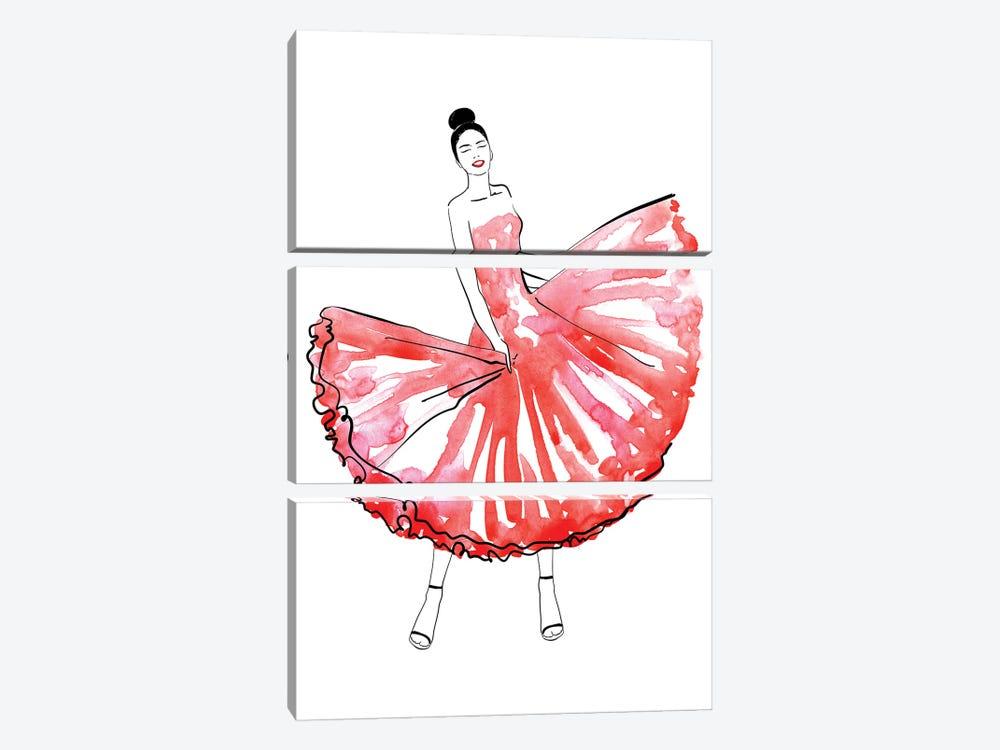 Maija Fashion Illustration In Red by blursbyai 3-piece Art Print