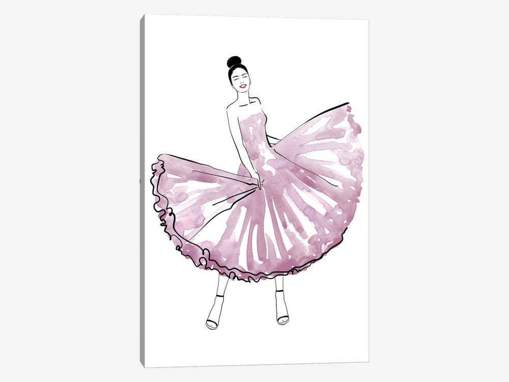 Maija Fashion Illustration In Mauve by blursbyai 1-piece Canvas Artwork
