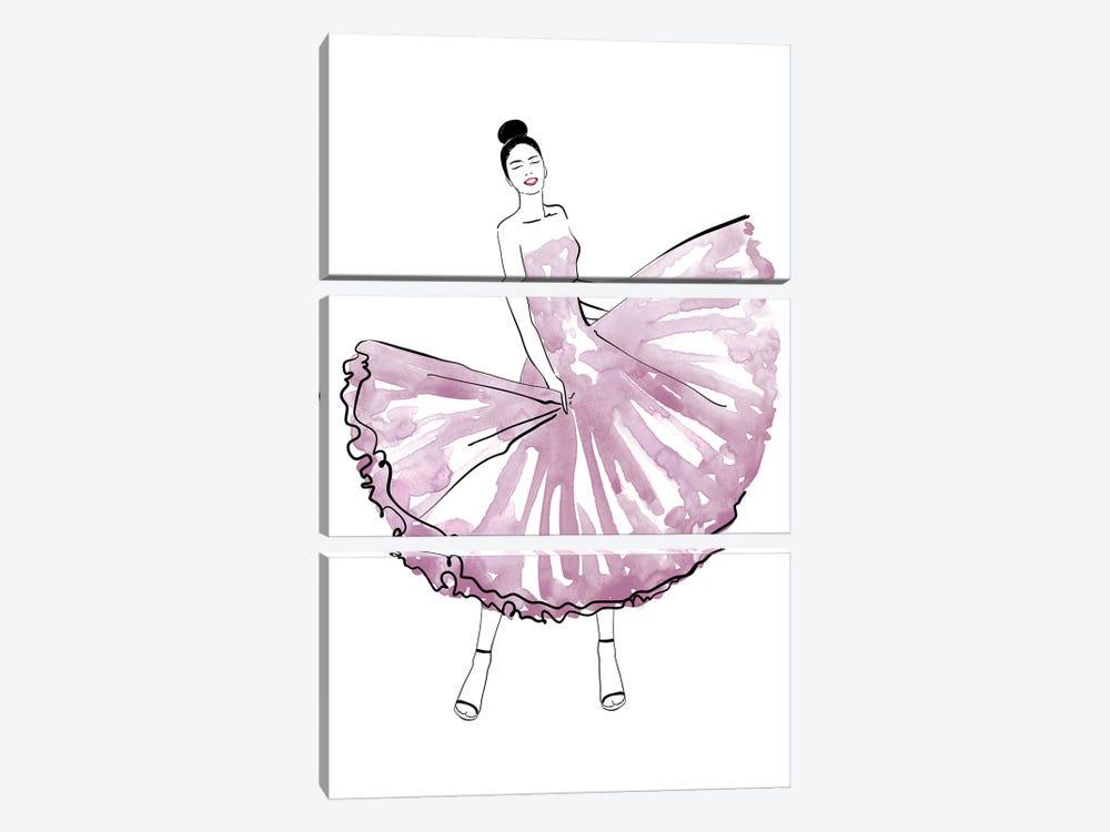 Maija Fashion Illustration In Mauve by blursbyai 3-piece Canvas Wall Art