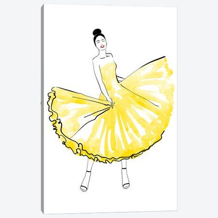 Maija Fashion Illustration In Yellow Canvas Print #RLZ299} by blursbyai Canvas Art