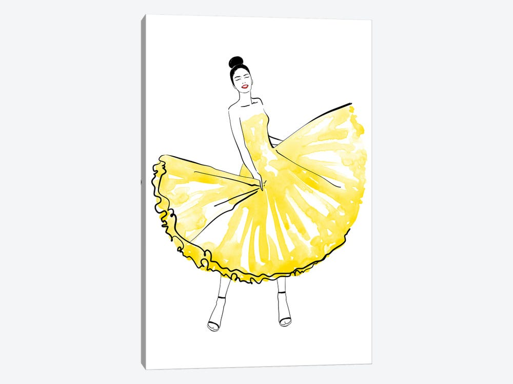 Maija Fashion Illustration In Yellow by blursbyai 1-piece Canvas Print