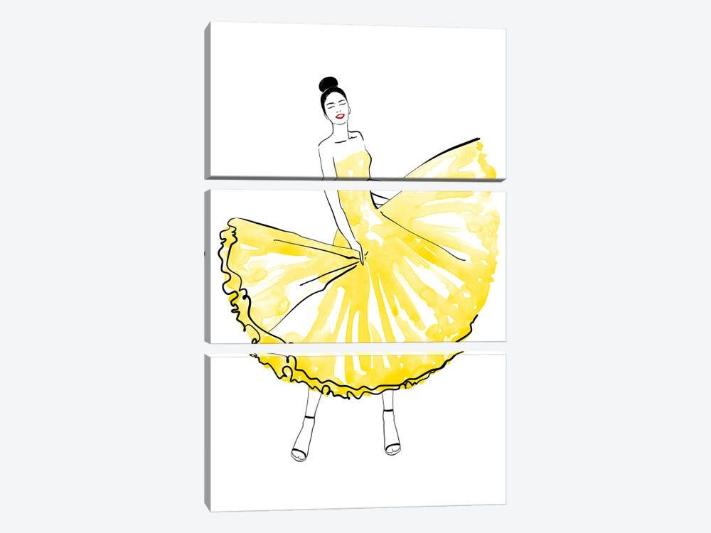 Maija Fashion Illustration In Yellow by blursbyai 3-piece Canvas Print