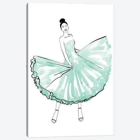 Maija Fashion Illustration In Mint Canvas Print #RLZ300} by blursbyai Canvas Artwork
