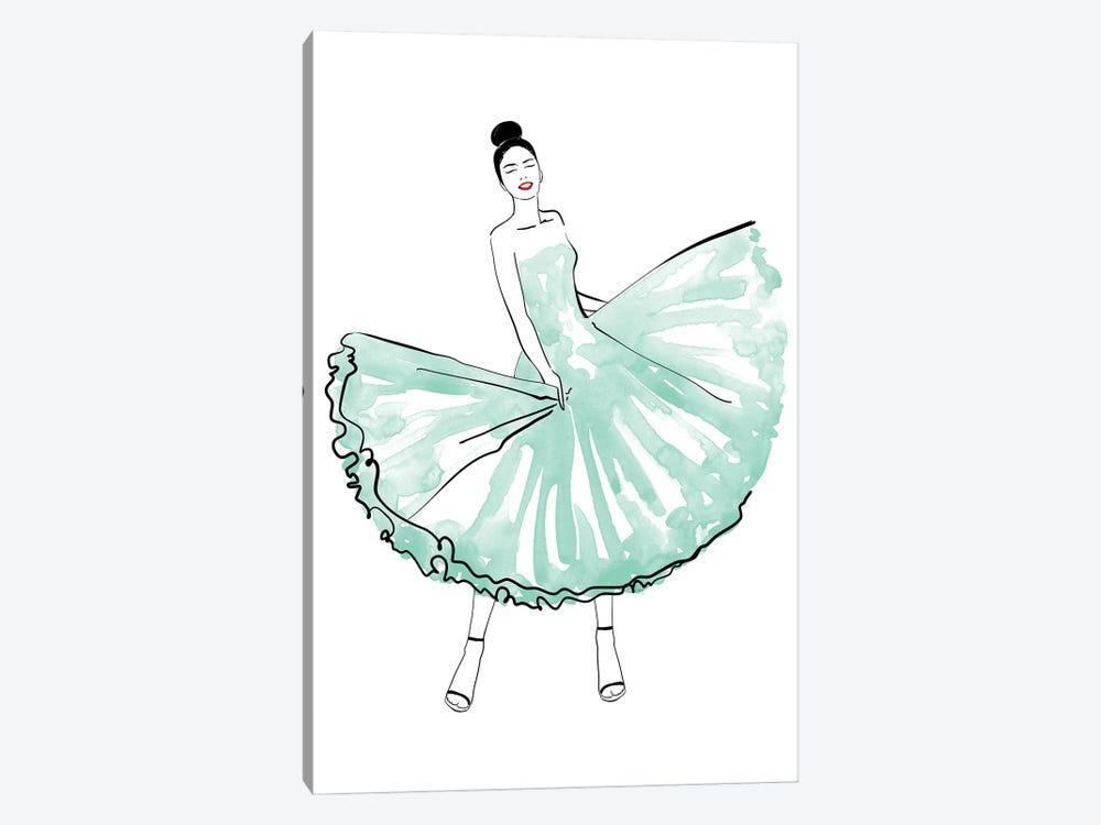 Maija Fashion Illustration In Mint by blursbyai 1-piece Canvas Artwork