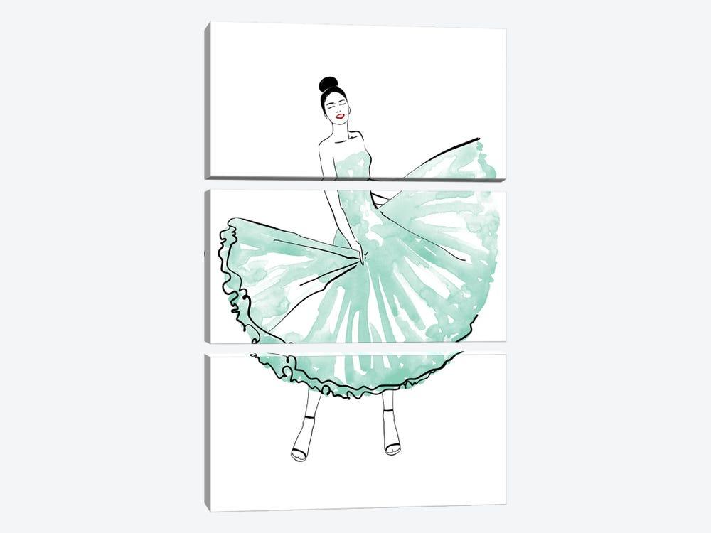 Maija Fashion Illustration In Mint by blursbyai 3-piece Canvas Art