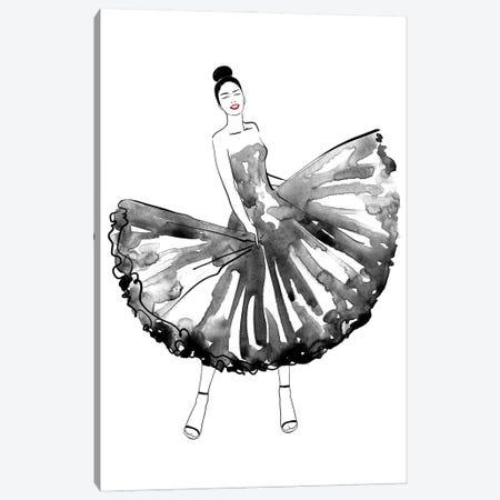 Maija Fashion Illustration In Black Canvas Print #RLZ301} by blursbyai Canvas Artwork