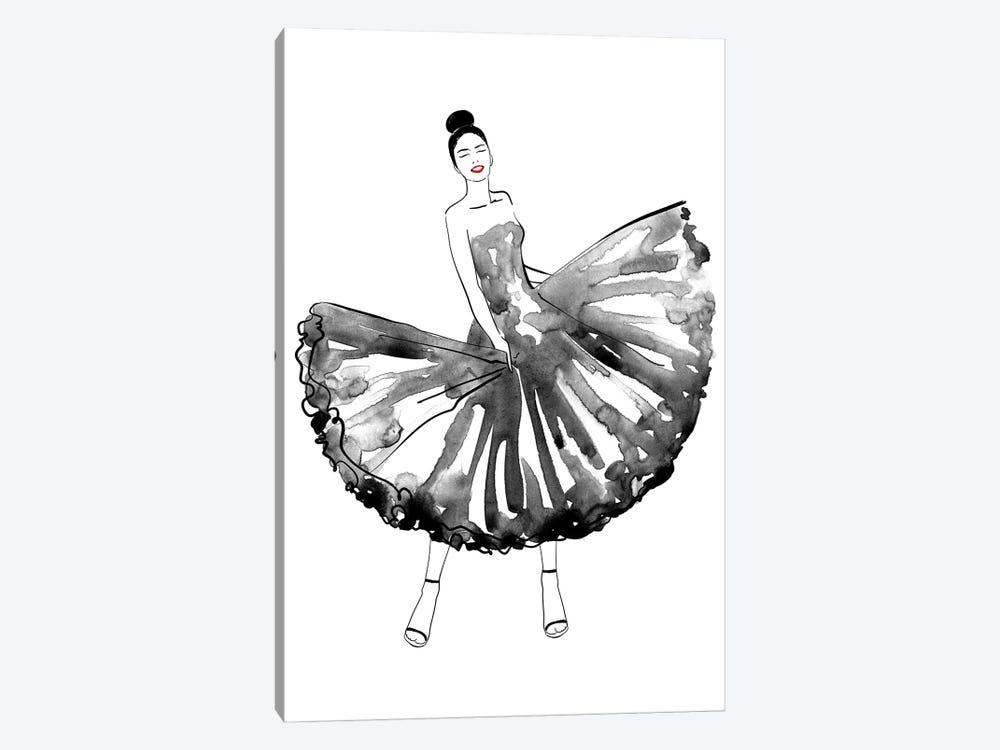 Maija Fashion Illustration In Black by blursbyai 1-piece Canvas Print