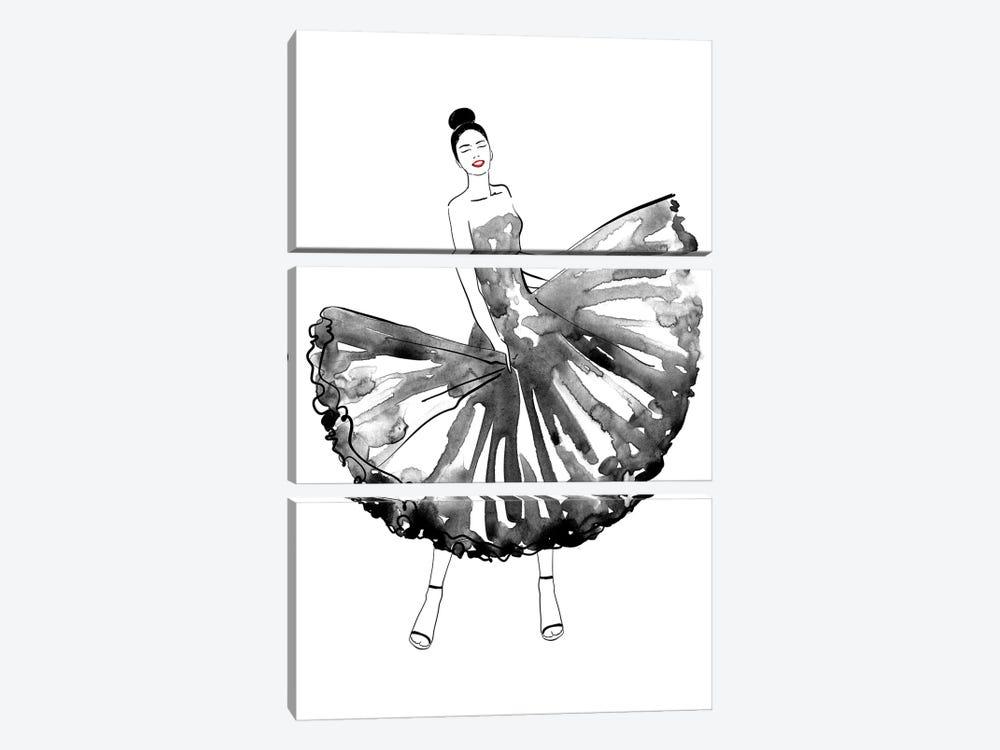 Maija Fashion Illustration In Black by blursbyai 3-piece Art Print
