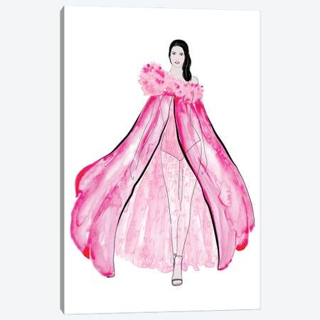 Velma Fashion Illustration In Pink Canvas Print #RLZ302} by blursbyai Canvas Artwork