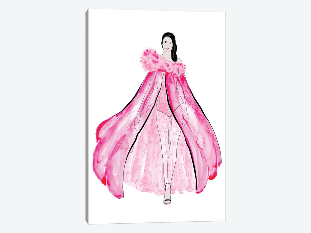 Velma Fashion Illustration In Pink by blursbyai 1-piece Canvas Art