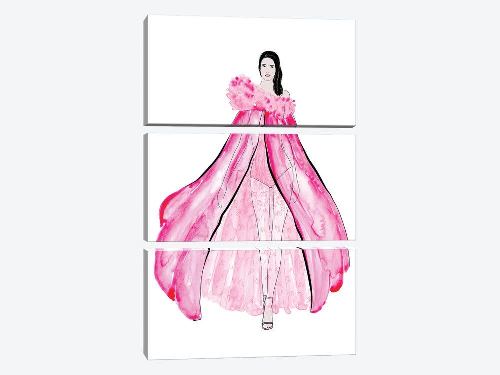 Velma Fashion Illustration In Pink by blursbyai 3-piece Canvas Wall Art