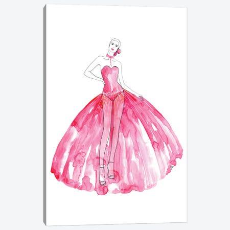 Beren Fashion Illustration In Hot Pink Canvas Print #RLZ304} by blursbyai Canvas Print