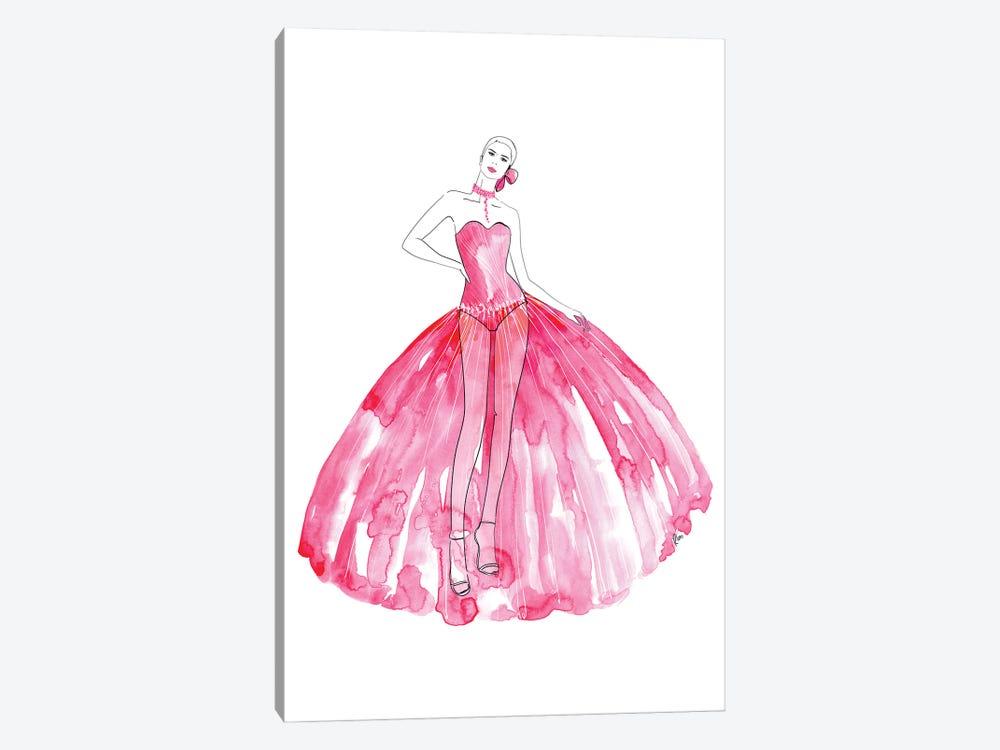 Beren Fashion Illustration In Hot Pink by blursbyai 1-piece Canvas Art