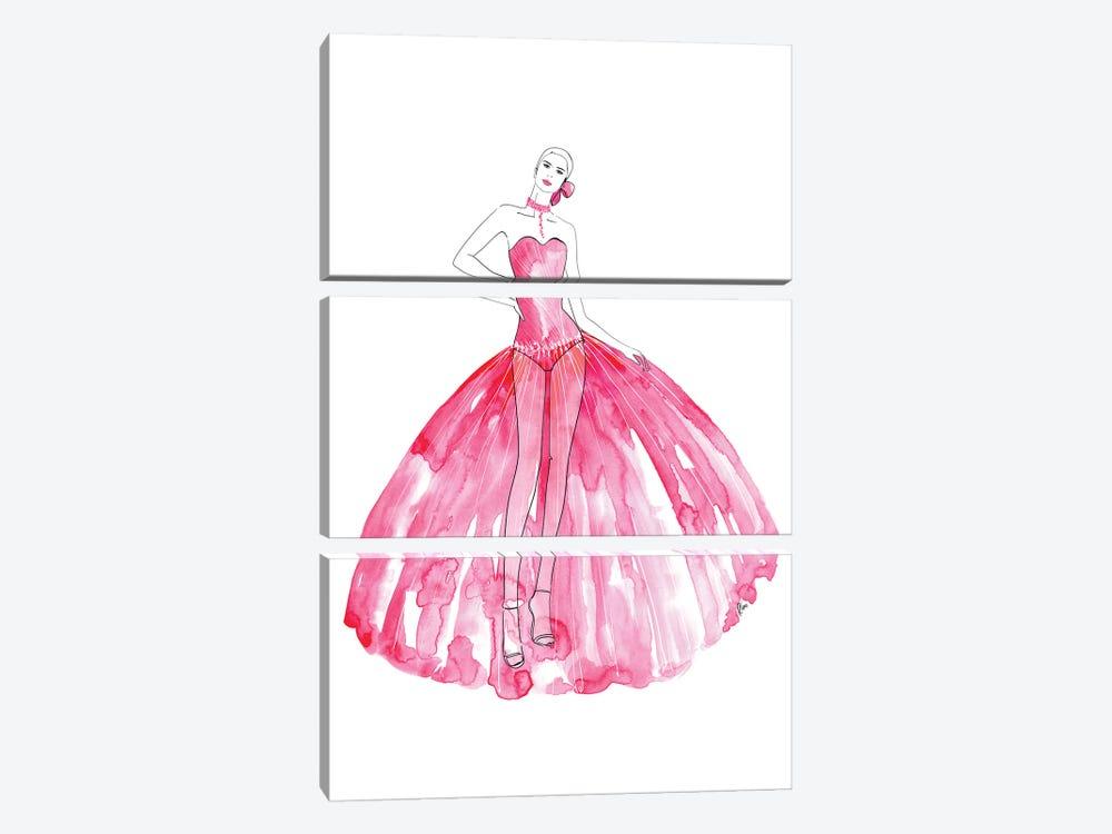 Beren Fashion Illustration In Hot Pink by blursbyai 3-piece Canvas Artwork