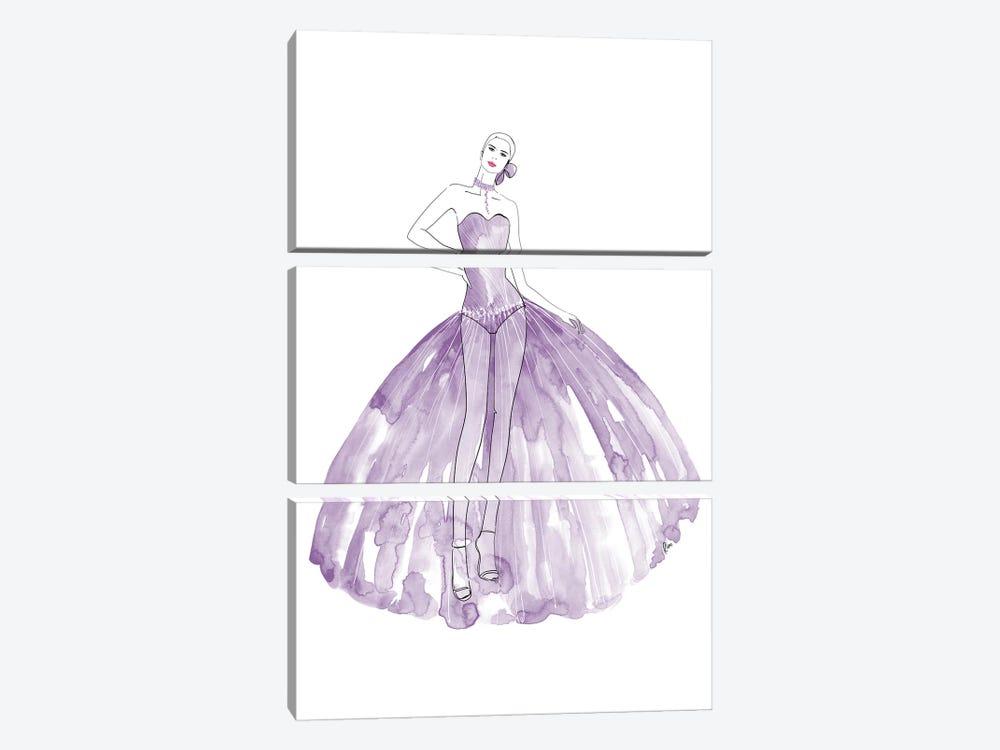 Beren Fashion Illustration In Mauve by blursbyai 3-piece Canvas Print