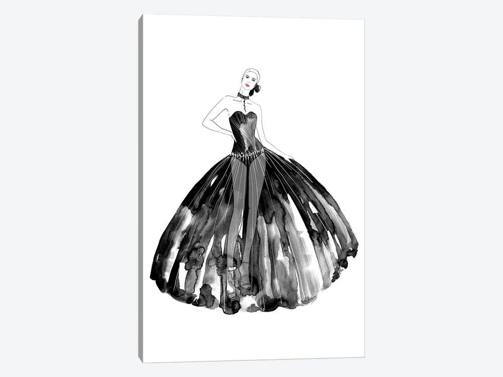 Beren Fashion Illustration In Black by blursbyai 1-piece Canvas Artwork
